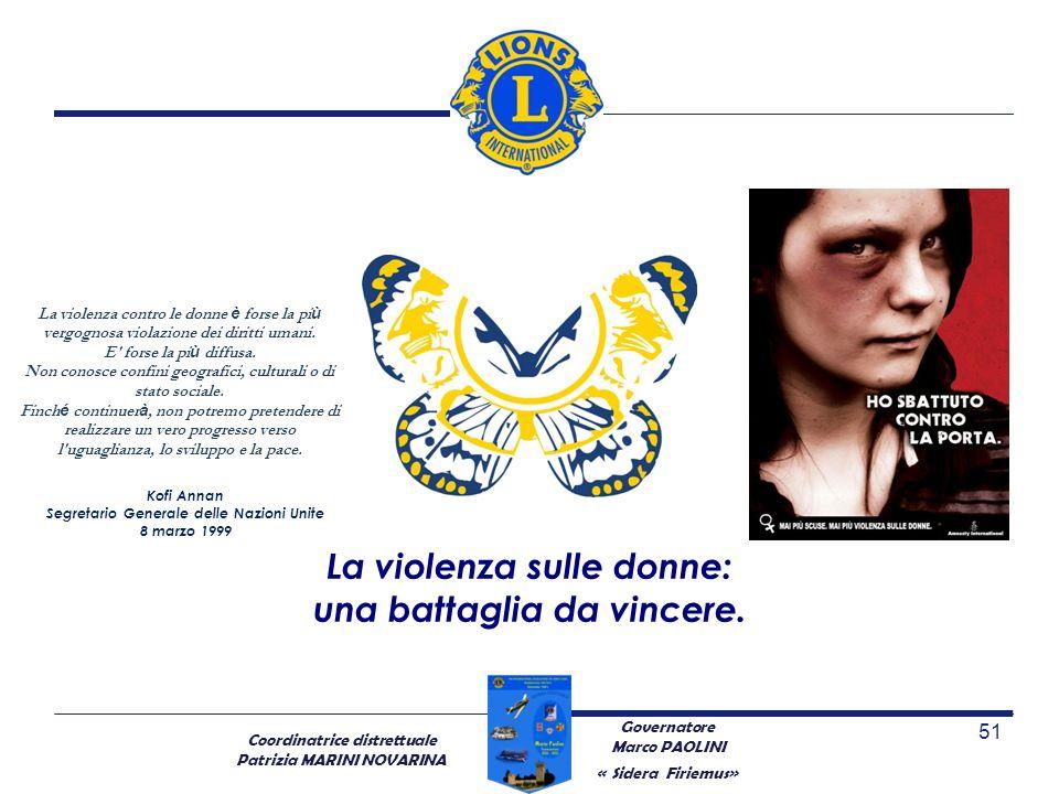 Coordinatrice distrettuale Patrizia MARINI NOVARINA 51 La violenza sulle donne: una battaglia da vincere. Governatore Marco PAOLINI « Sidera Firiemus»