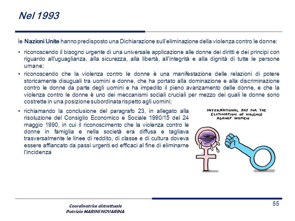 Coordinatrice distrettuale Patrizia MARINI NOVARINA Nel 1993 le Nazioni Unite hanno predisposto una Dichiarazione sulleliminazione della violenza cont