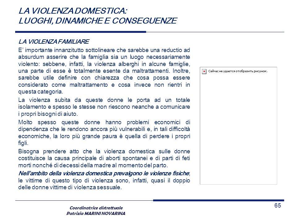 Coordinatrice distrettuale Patrizia MARINI NOVARINA LA VIOLENZA FAMILIARE E importante innanzitutto sottolineare che sarebbe una reductio ad absurdum