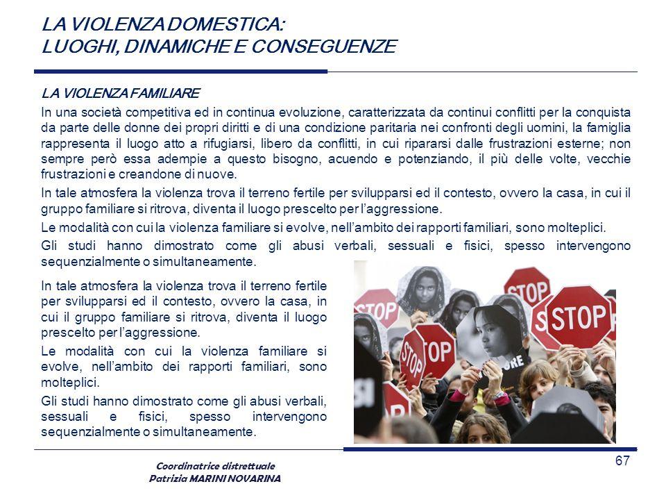 Coordinatrice distrettuale Patrizia MARINI NOVARINA LA VIOLENZA FAMILIARE In una società competitiva ed in continua evoluzione, caratterizzata da cont
