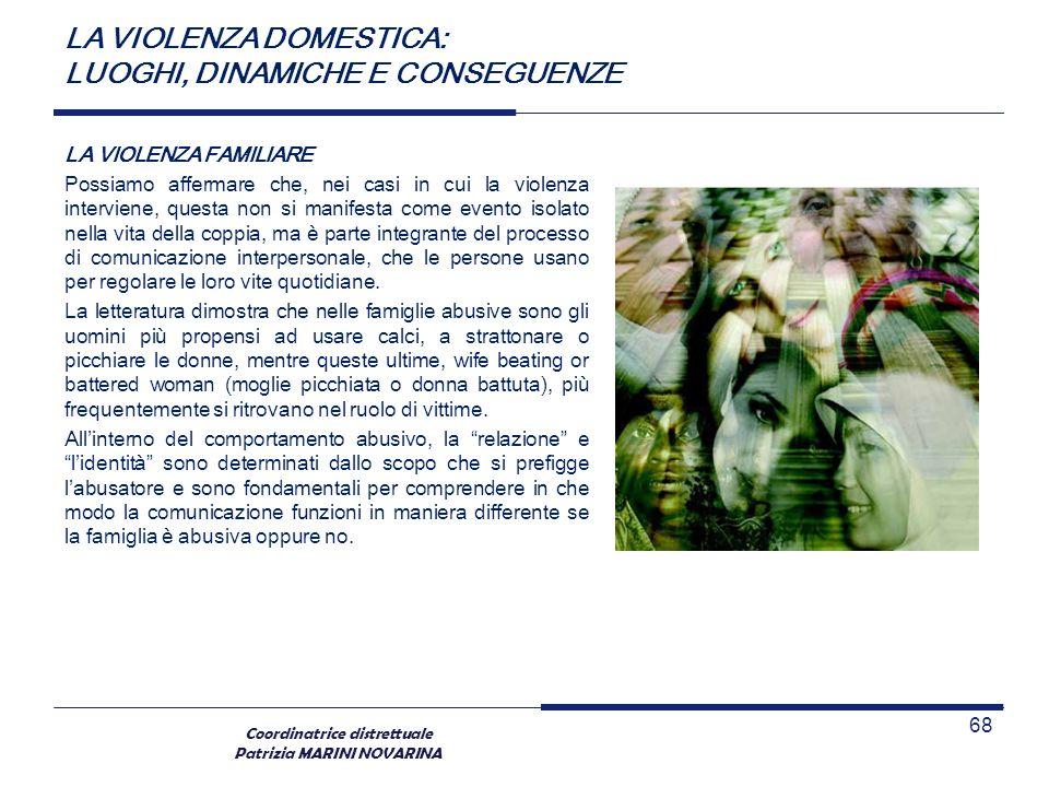Coordinatrice distrettuale Patrizia MARINI NOVARINA LA VIOLENZA FAMILIARE Possiamo affermare che, nei casi in cui la violenza interviene, questa non s