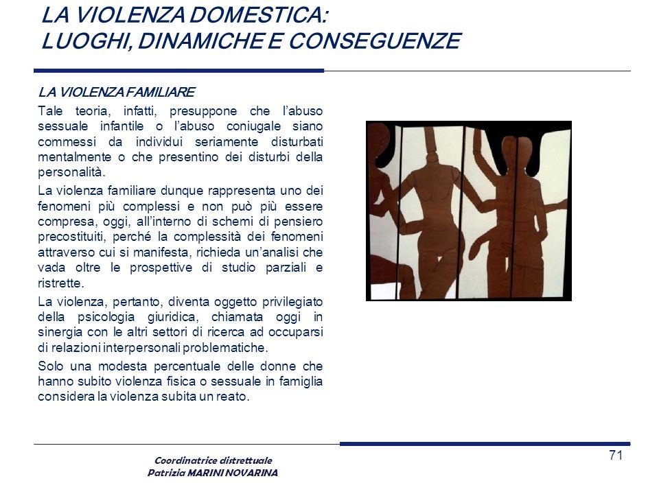 Coordinatrice distrettuale Patrizia MARINI NOVARINA LA VIOLENZA DOMESTICA: LUOGHI, DINAMICHE E CONSEGUENZE LA VIOLENZA FAMILIARE Tale teoria, infatti,