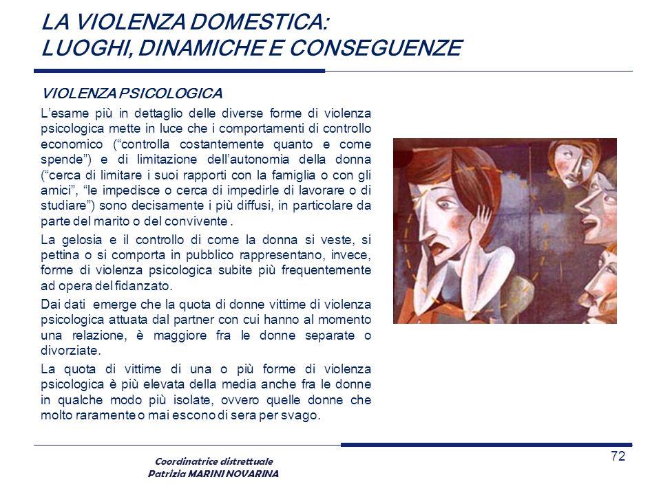 Coordinatrice distrettuale Patrizia MARINI NOVARINA LA VIOLENZA DOMESTICA: LUOGHI, DINAMICHE E CONSEGUENZE VIOLENZA PSICOLOGICA Lesame più in dettagli