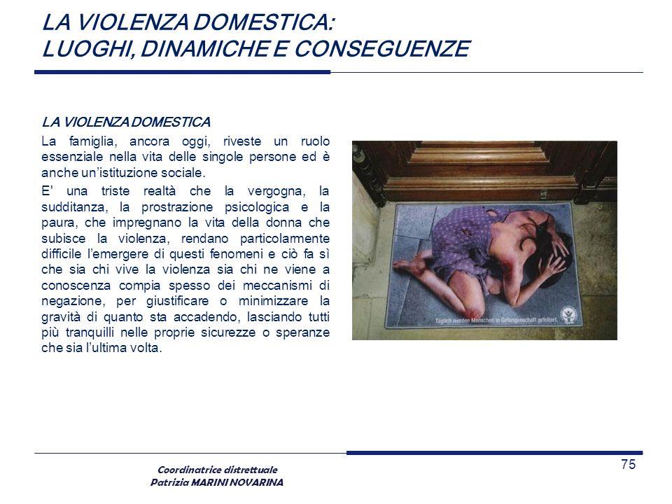 Coordinatrice distrettuale Patrizia MARINI NOVARINA LA VIOLENZA DOMESTICA: LUOGHI, DINAMICHE E CONSEGUENZE LA VIOLENZA DOMESTICA La famiglia, ancora o