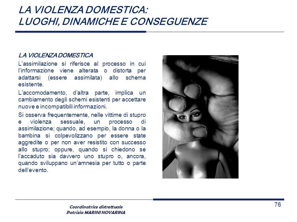 Coordinatrice distrettuale Patrizia MARINI NOVARINA LA VIOLENZA DOMESTICA: LUOGHI, DINAMICHE E CONSEGUENZE LA VIOLENZA DOMESTICA Lassimilazione si rif