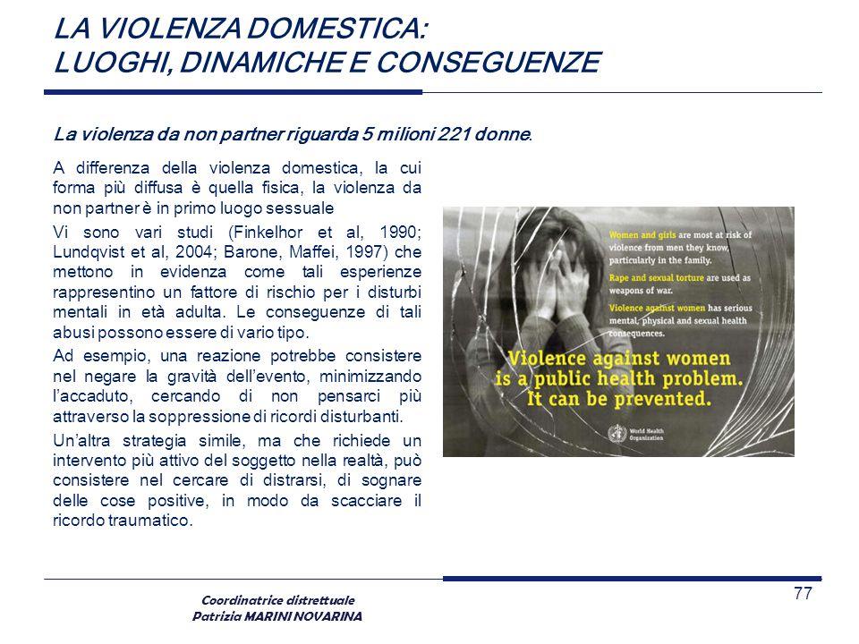 Coordinatrice distrettuale Patrizia MARINI NOVARINA LA VIOLENZA DOMESTICA: LUOGHI, DINAMICHE E CONSEGUENZE A differenza della violenza domestica, la c