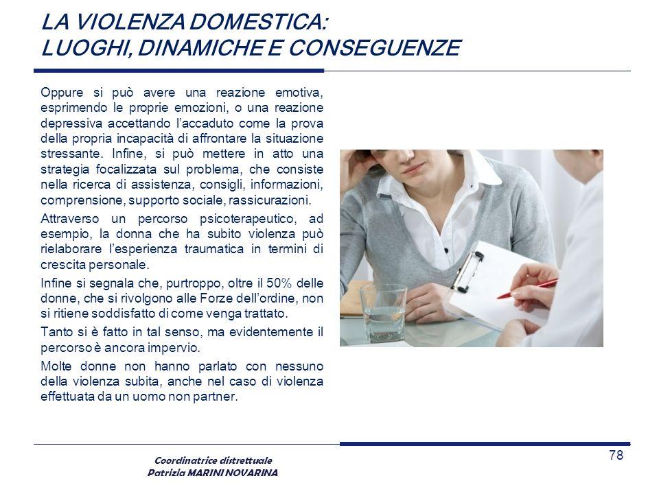 Coordinatrice distrettuale Patrizia MARINI NOVARINA LA VIOLENZA DOMESTICA: LUOGHI, DINAMICHE E CONSEGUENZE Oppure si può avere una reazione emotiva, e