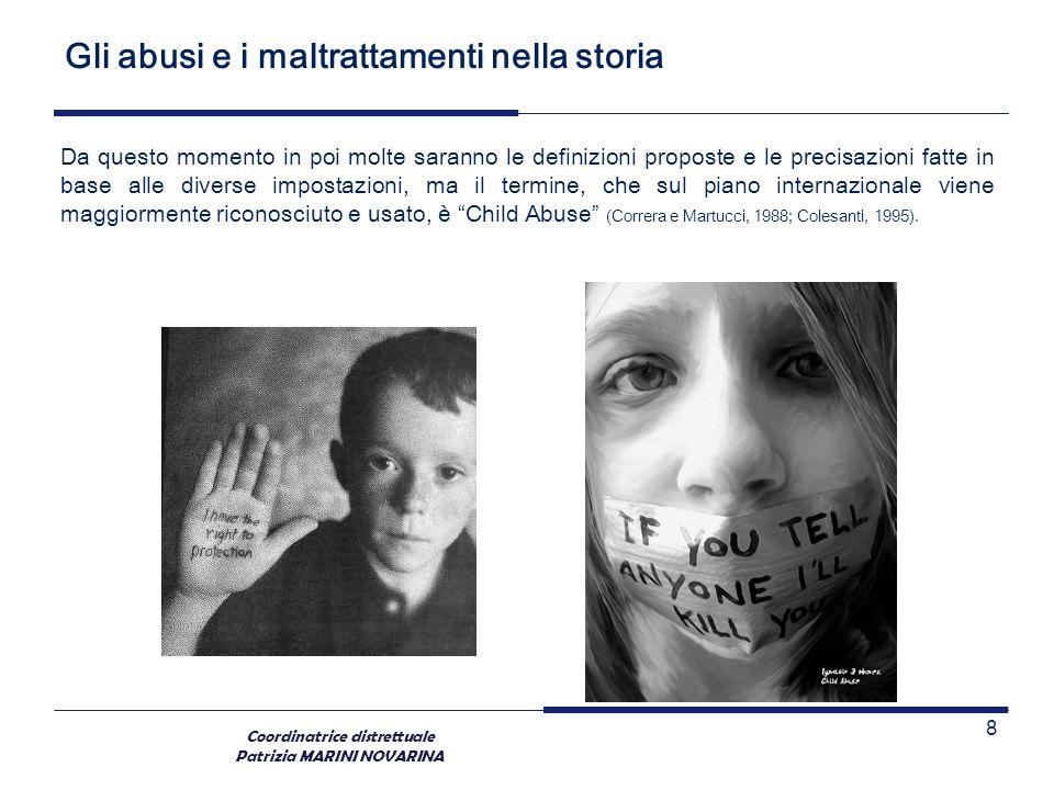 Coordinatrice distrettuale Patrizia MARINI NOVARINA Gli abusi e i maltrattamenti nella storia Da questo momento in poi molte saranno le definizioni pr