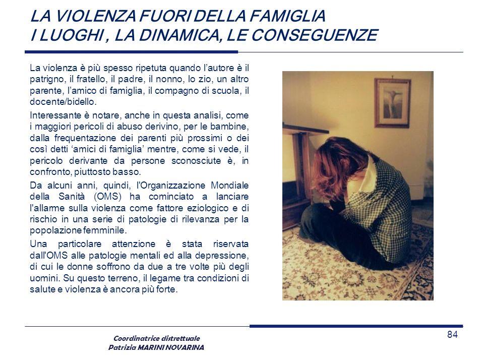 Coordinatrice distrettuale Patrizia MARINI NOVARINA LA VIOLENZA FUORI DELLA FAMIGLIA I LUOGHI, LA DINAMICA, LE CONSEGUENZE La violenza è più spesso ri