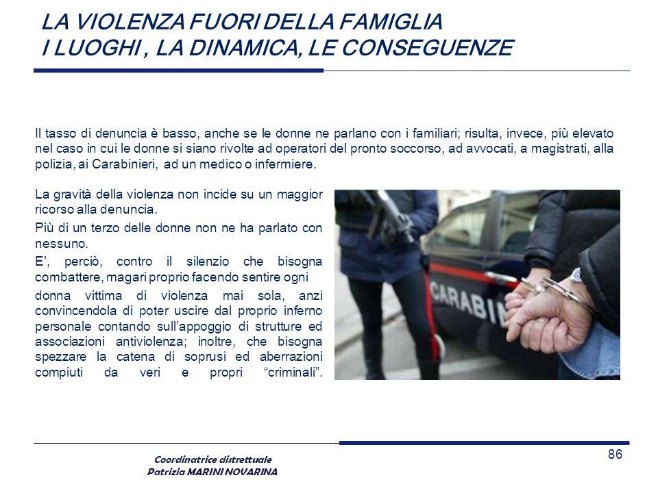 Coordinatrice distrettuale Patrizia MARINI NOVARINA LA VIOLENZA FUORI DELLA FAMIGLIA I LUOGHI, LA DINAMICA, LE CONSEGUENZE La gravità della violenza n