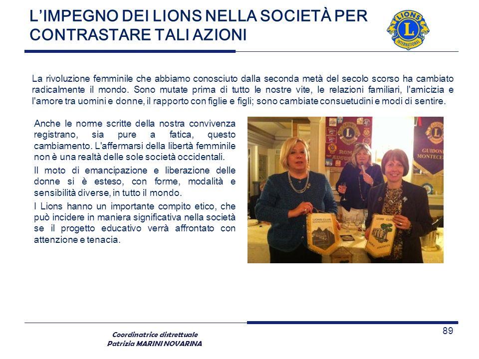 Coordinatrice distrettuale Patrizia MARINI NOVARINA LIMPEGNO DEI LIONS NELLA SOCIETÀ PER CONTRASTARE TALI AZIONI 89 Anche le norme scritte della nostr