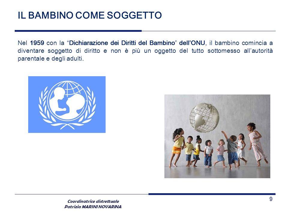 Coordinatrice distrettuale Patrizia MARINI NOVARINA IL BAMBINO COME SOGGETTO Nel 1959 con la Dichiarazione dei Diritti del Bambino dellONU, il bambino