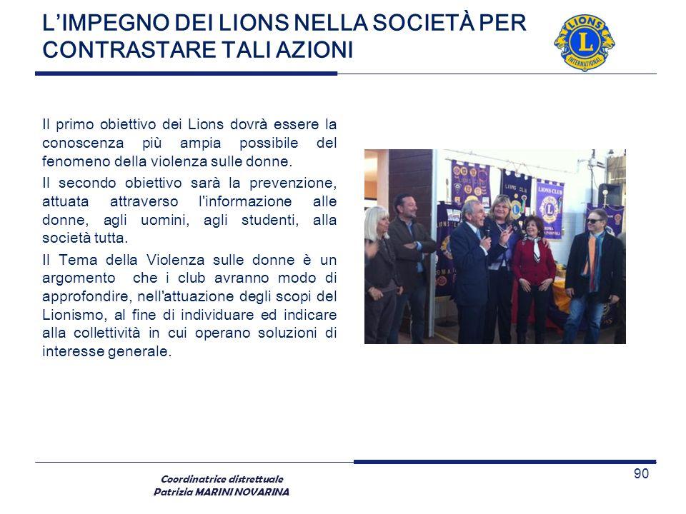 Coordinatrice distrettuale Patrizia MARINI NOVARINA LIMPEGNO DEI LIONS NELLA SOCIETÀ PER CONTRASTARE TALI AZIONI Il primo obiettivo dei Lions dovrà es