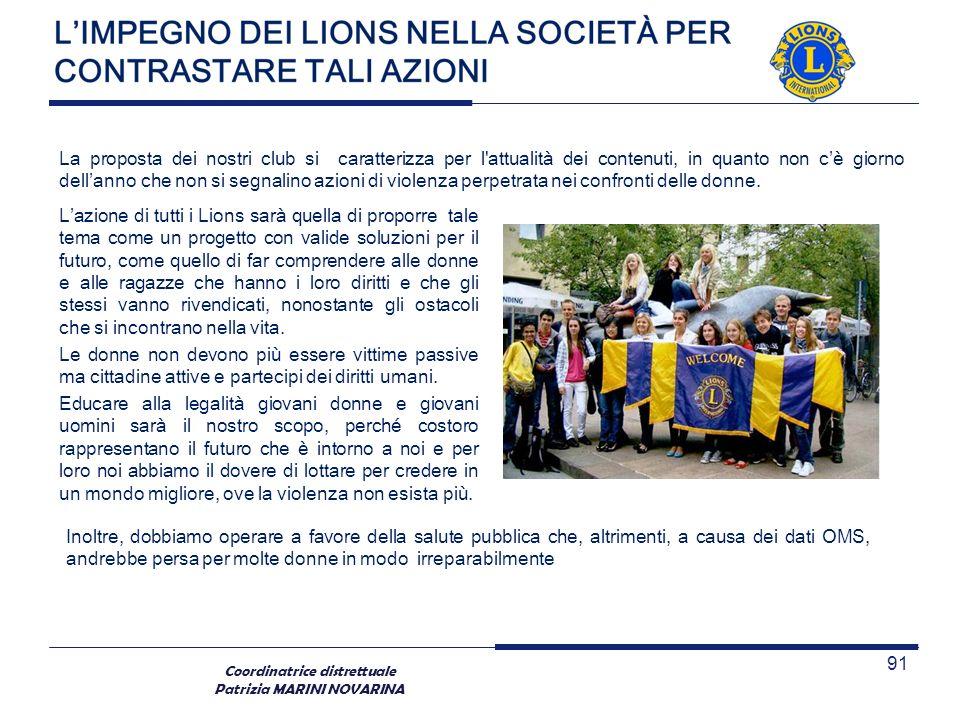 Coordinatrice distrettuale Patrizia MARINI NOVARINA Lazione di tutti i Lions sarà quella di proporre tale tema come un progetto con valide soluzioni p