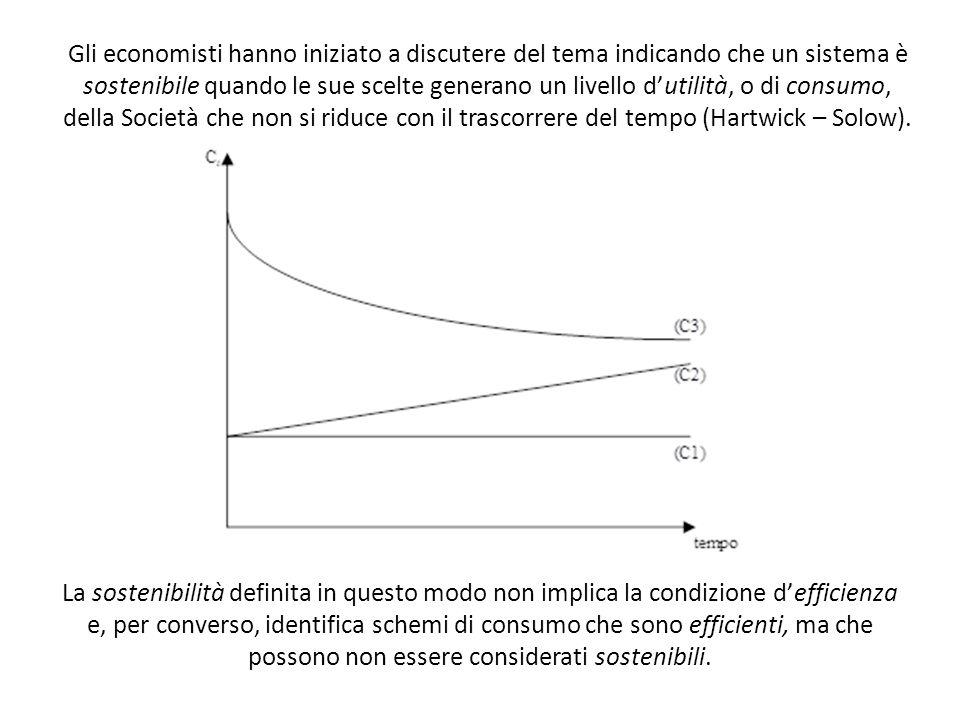Gli economisti hanno iniziato a discutere del tema indicando che un sistema è sostenibile quando le sue scelte generano un livello dutilità, o di cons