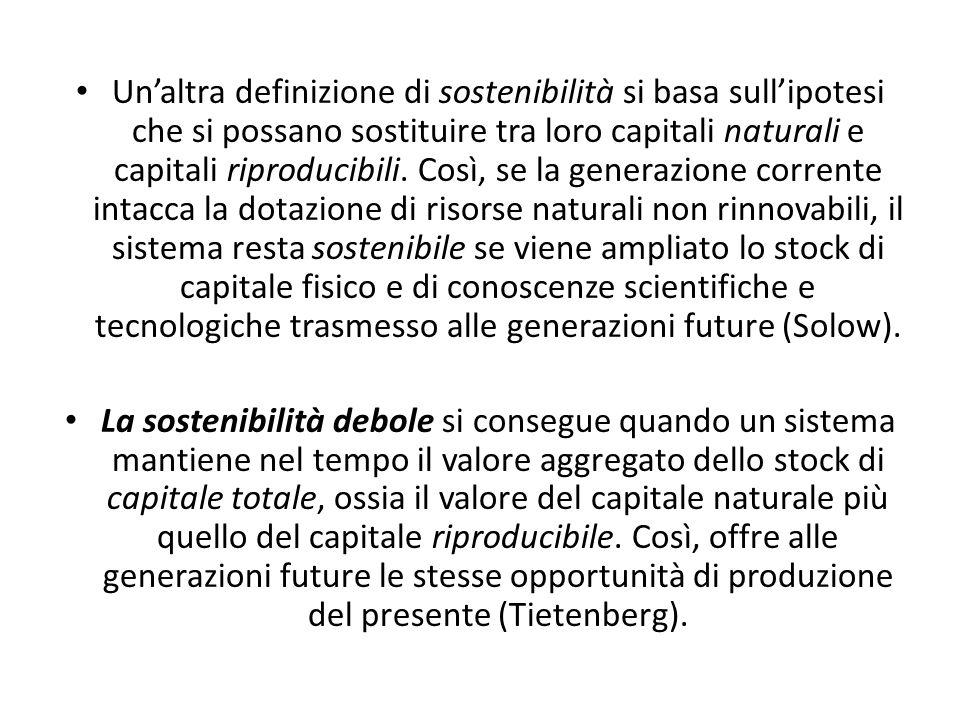 Unaltra definizione di sostenibilità si basa sullipotesi che si possano sostituire tra loro capitali naturali e capitali riproducibili. Così, se la ge