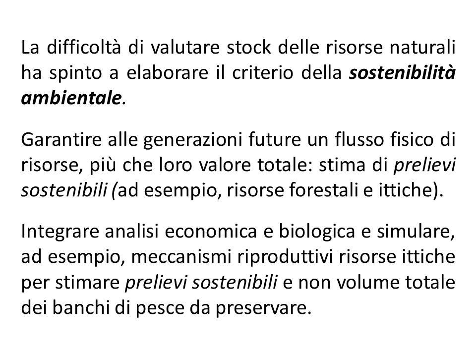 La difficoltà di valutare stock delle risorse naturali ha spinto a elaborare il criterio della sostenibilità ambientale. Garantire alle generazioni fu