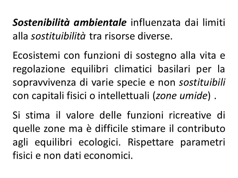 Sostenibilità ambientale influenzata dai limiti alla sostituibilità tra risorse diverse. Ecosistemi con funzioni di sostegno alla vita e regolazione e
