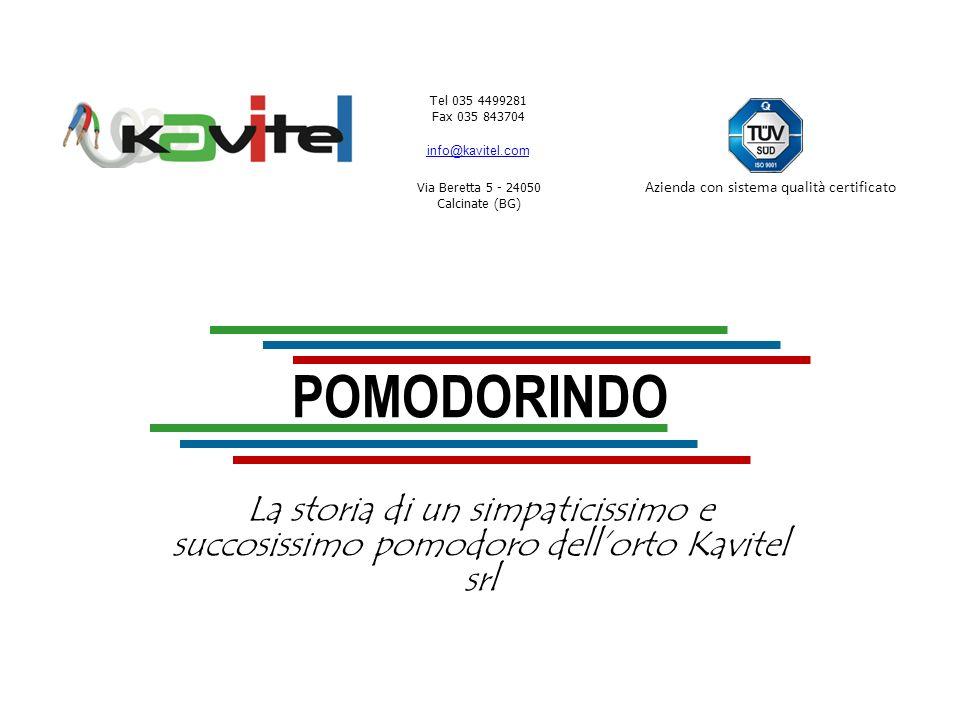 Tel 035 4499281 Fax 035 843704 info@kavitel.com Via Beretta 5 - 24050 Calcinate (BG) Azienda con sistema qualità certificato Me lo riguardo bene unaltra volta.