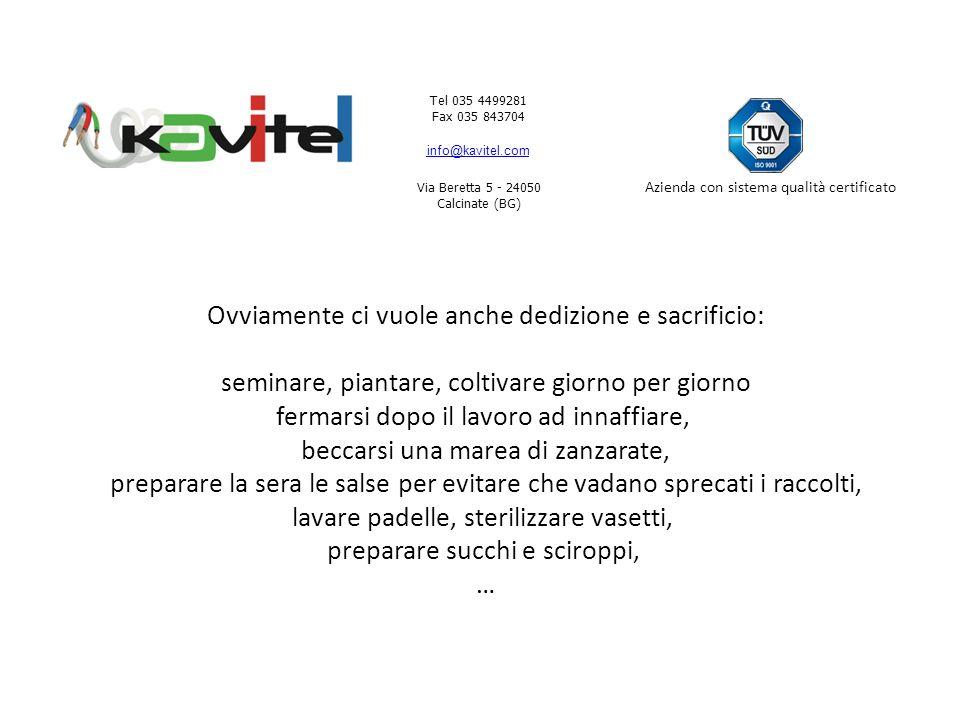 Tel 035 4499281 Fax 035 843704 info@kavitel.com Via Beretta 5 - 24050 Calcinate (BG) Azienda con sistema qualità certificato Certo è anche vero che noi dobbiamo metterci un po di impegno e costanza.