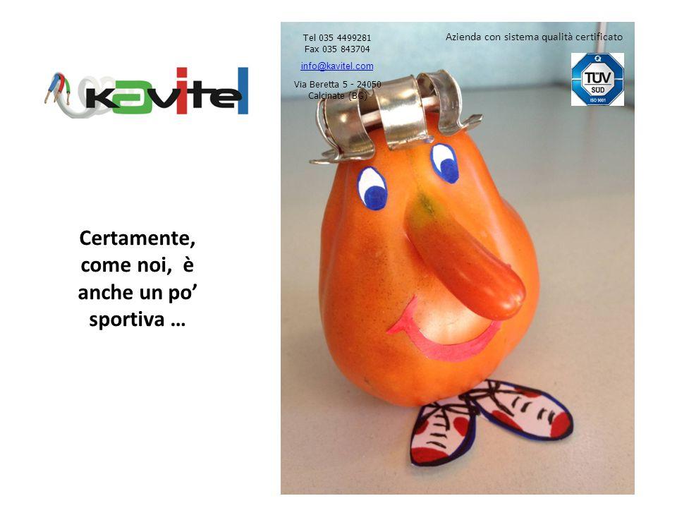 Certamente, come noi, è anche un po sportiva … Tel 035 4499281 Fax 035 843704 info@kavitel.com Via Beretta 5 - 24050 Calcinate (BG) Azienda con sistema qualità certificato