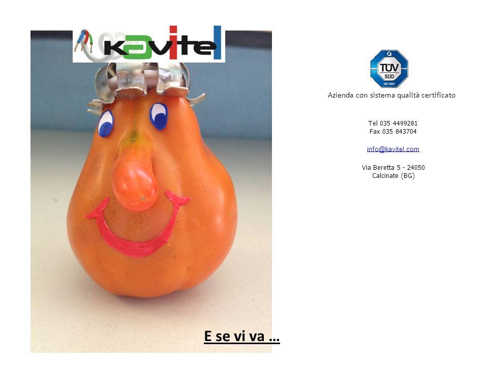 E se vi va … Tel 035 4499281 Fax 035 843704 info@kavitel.com Via Beretta 5 - 24050 Calcinate (BG) Azienda con sistema qualità certificato
