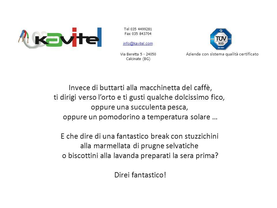 Tel 035 4499281 Fax 035 843704 info@kavitel.com Via Beretta 5 - 24050 Calcinate (BG) Azienda con sistema qualità certificato Ovviamente sorridente.