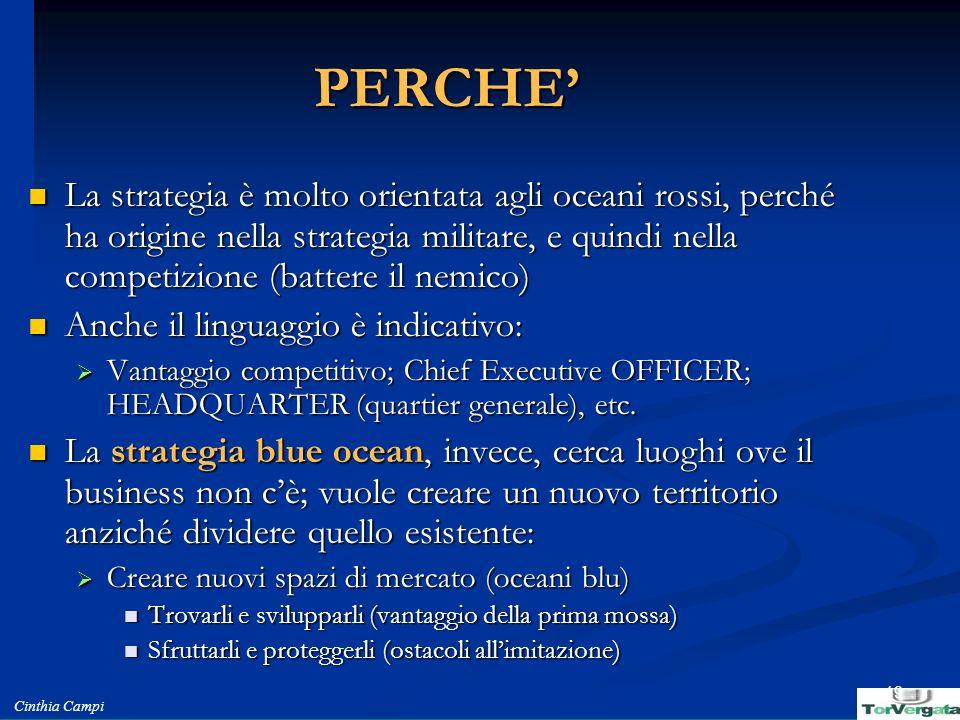 Cinthia Campi 19 PERCHE La strategia è molto orientata agli oceani rossi, perché ha origine nella strategia militare, e quindi nella competizione (bat
