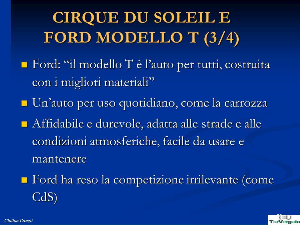 Cinthia Campi 50 CIRQUE DU SOLEIL E FORD MODELLO T (3/4) Ford: il modello T è lauto per tutti, costruita con i migliori materiali Ford: il modello T è
