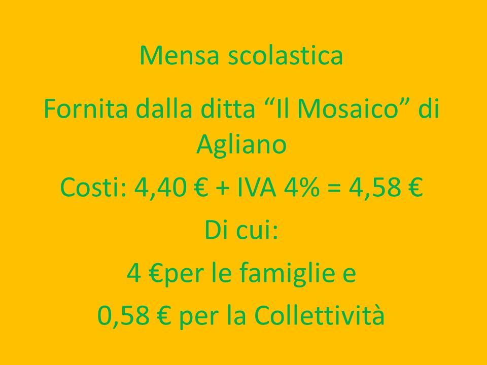 Mensa scolastica Fornita dalla ditta Il Mosaico di Agliano Costi: 4,40 + IVA 4% = 4,58 Di cui: 4 per le famiglie e 0,58 per la Collettività