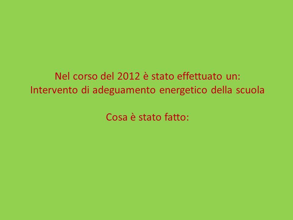 Nel corso del 2012 è stato effettuato un: Intervento di adeguamento energetico della scuola Cosa è stato fatto: