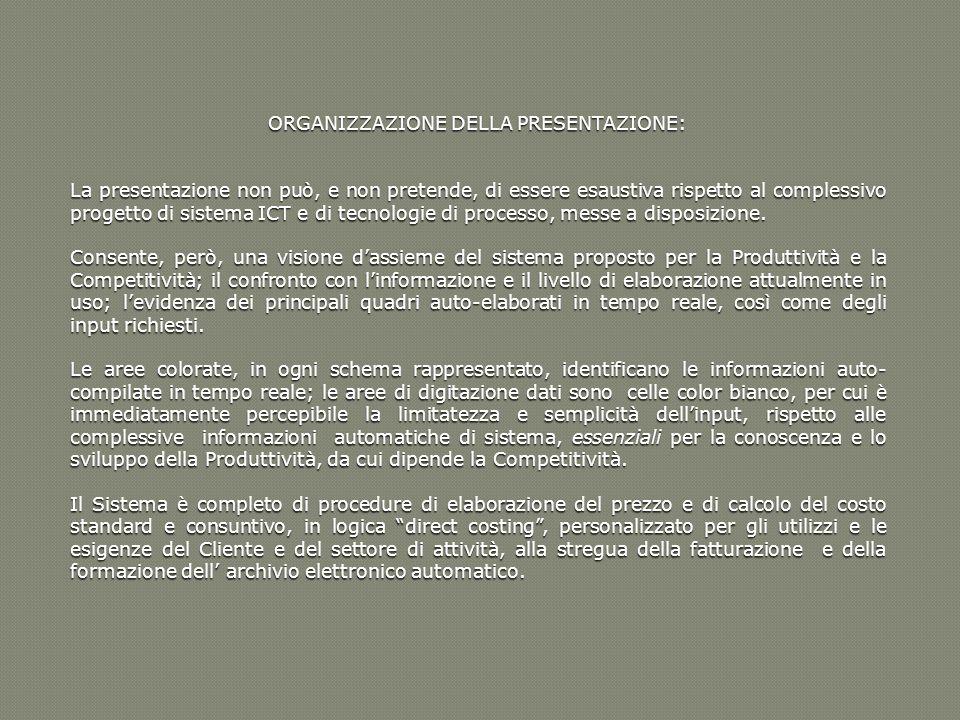 ORGANIZZAZIONE DELLA PRESENTAZIONE: La presentazione non può, e non pretende, di essere esaustiva rispetto al complessivo progetto di sistema ICT e di
