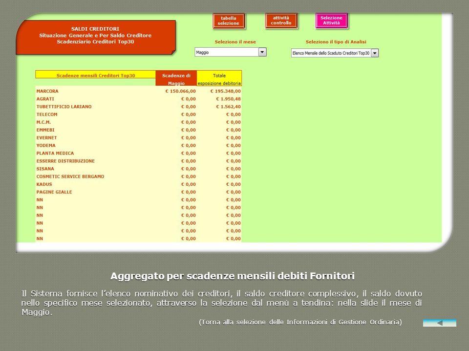 Aggregato per scadenze mensili debiti Fornitori Il Sistema fornisce lelenco nominativo dei creditori, il saldo creditore complessivo, il saldo dovuto