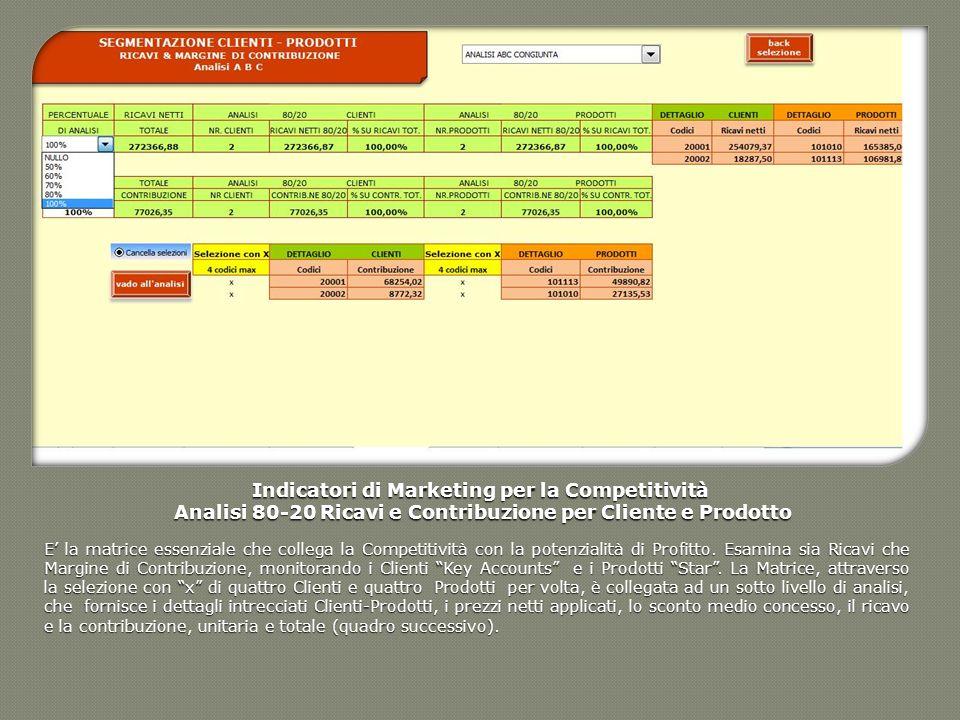 Indicatori di Marketing per la Competitività Analisi 80-20 Ricavi e Contribuzione per Cliente e Prodotto Analisi 80-20 Ricavi e Contribuzione per Clie