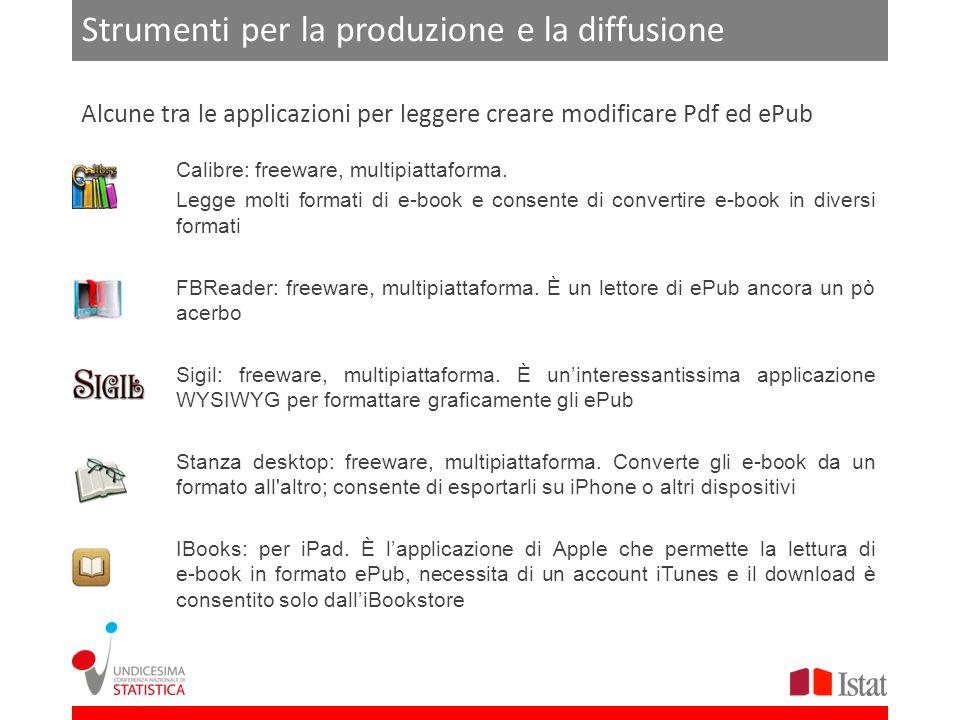 Strumenti per la produzione e la diffusione Calibre: freeware, multipiattaforma.