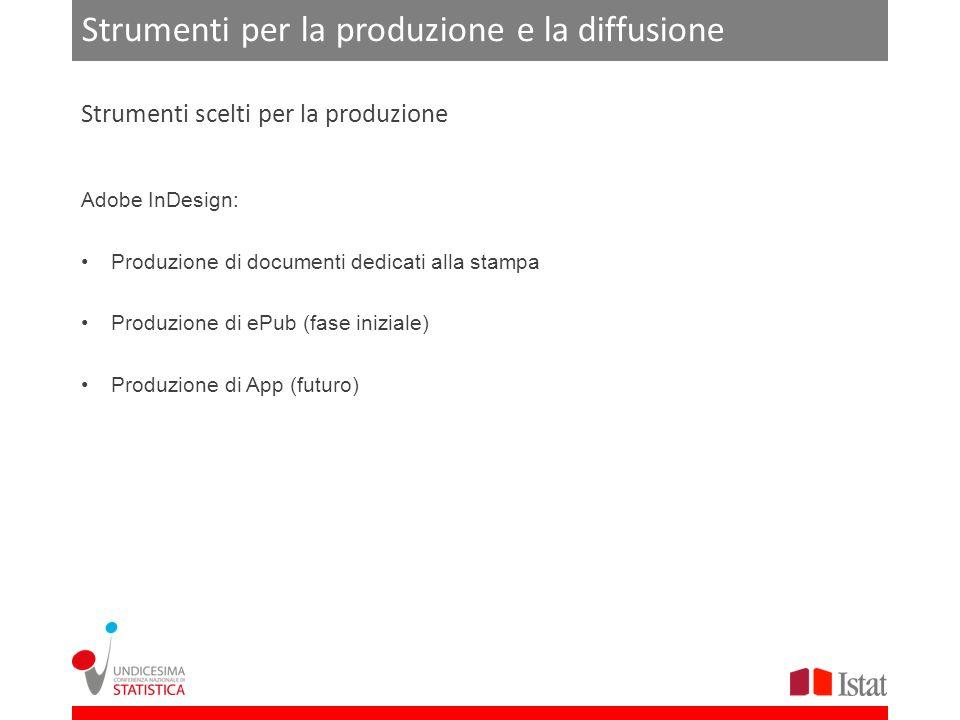 Strumenti per la produzione e la diffusione Adobe InDesign: Produzione di documenti dedicati alla stampa Produzione di ePub (fase iniziale) Produzione di App (futuro) Strumenti scelti per la produzione