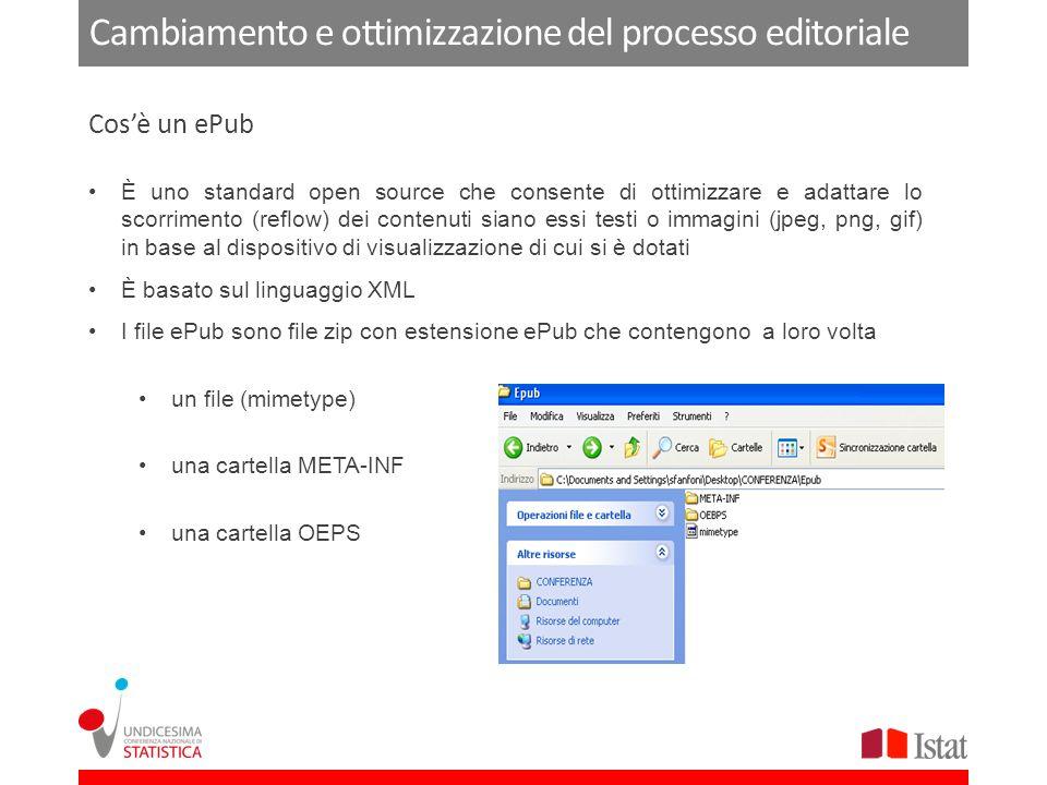 Cambiamento e ottimizzazione del processo editoriale È uno standard open source che consente di ottimizzare e adattare lo scorrimento (reflow) dei contenuti siano essi testi o immagini (jpeg, png, gif) in base al dispositivo di visualizzazione di cui si è dotati È basato sul linguaggio XML I file ePub sono file zip con estensione ePub che contengono a loro volta un file (mimetype) una cartella META-INF una cartella OEPS Cosè un ePub