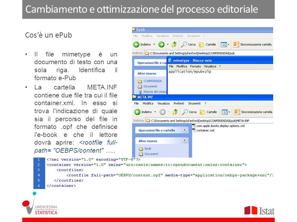 Cambiamento e ottimizzazione del processo editoriale Il file mimetype è un documento di testo con una sola riga.