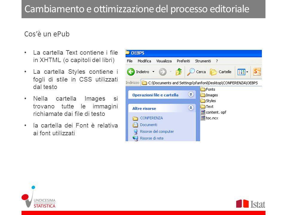 Cambiamento e ottimizzazione del processo editoriale La cartella Text contiene i file in XHTML (o capitoli del libri) La cartella Styles contiene i fogli di stile in CSS utilizzati dal testo Nella cartella Images si trovano tutte le immagini richiamate dai file di testo la cartella dei Font è relativa ai font utilizzati Cosè un ePub