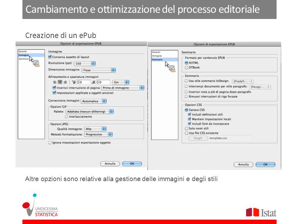 Cambiamento e ottimizzazione del processo editoriale Altre opzioni sono relative alla gestione delle immagini e degli stili Creazione di un ePub