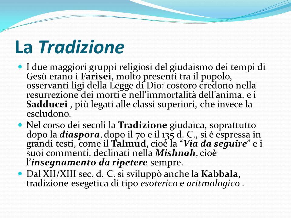 La Tradizione I due maggiori gruppi religiosi del giudaismo dei tempi di Gesù erano i Farisei, molto presenti tra il popolo, osservanti ligi della Leg