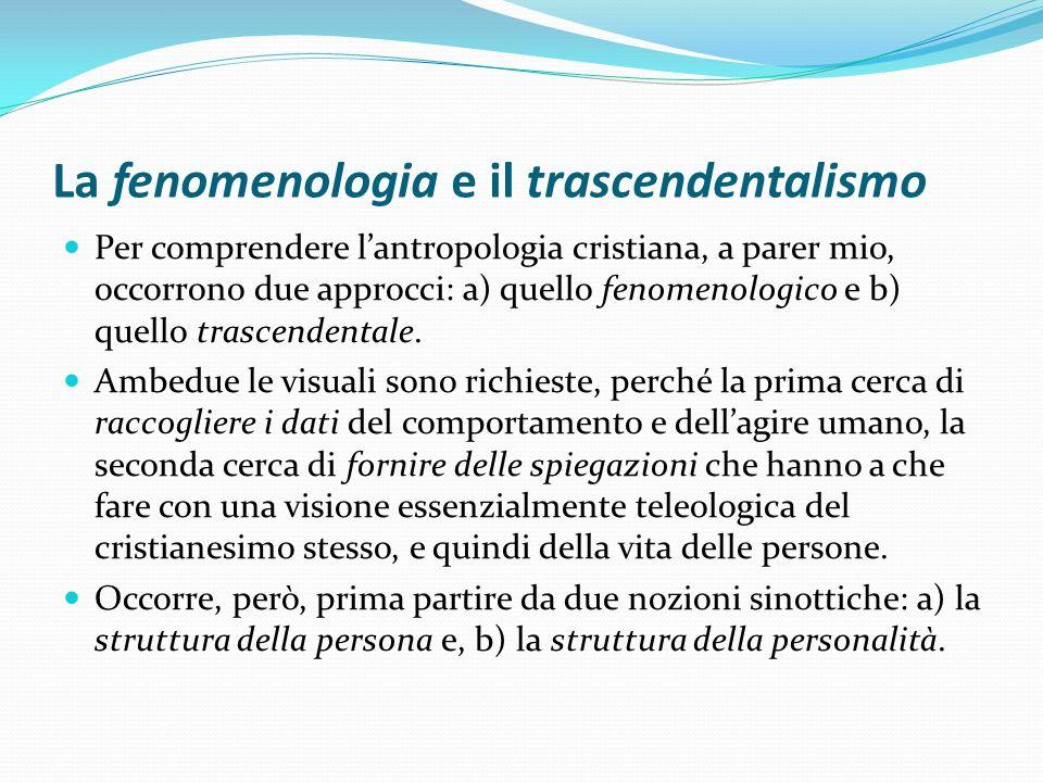 La fenomenologia e il trascendentalismo Per comprendere lantropologia cristiana, a parer mio, occorrono due approcci: a) quello fenomenologico e b) qu