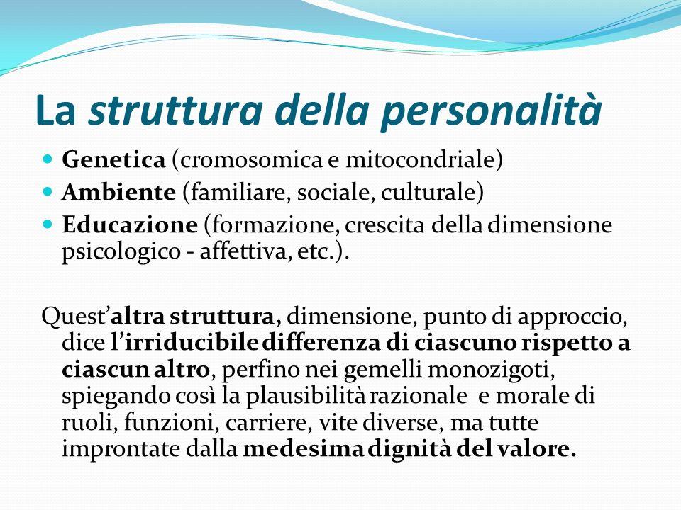 La struttura della personalità Genetica (cromosomica e mitocondriale) Ambiente (familiare, sociale, culturale) Educazione (formazione, crescita della