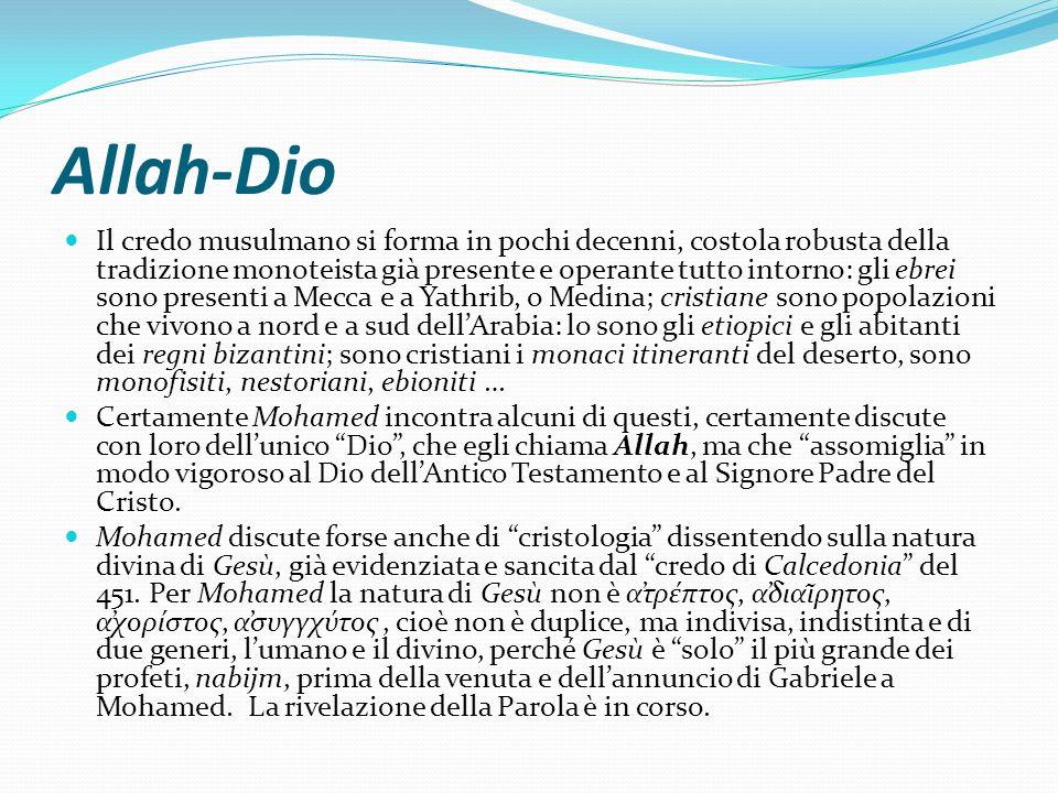 Allah-Dio Il credo musulmano si forma in pochi decenni, costola robusta della tradizione monoteista già presente e operante tutto intorno: gli ebrei s