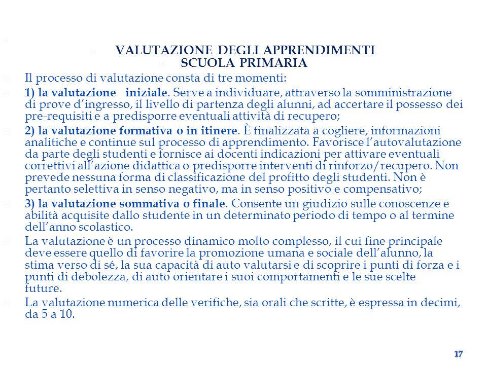 VALUTAZIONE DEGLI APPRENDIMENTI SCUOLA PRIMARIA Il processo di valutazione consta di tre momenti: 1) la valutazione iniziale.