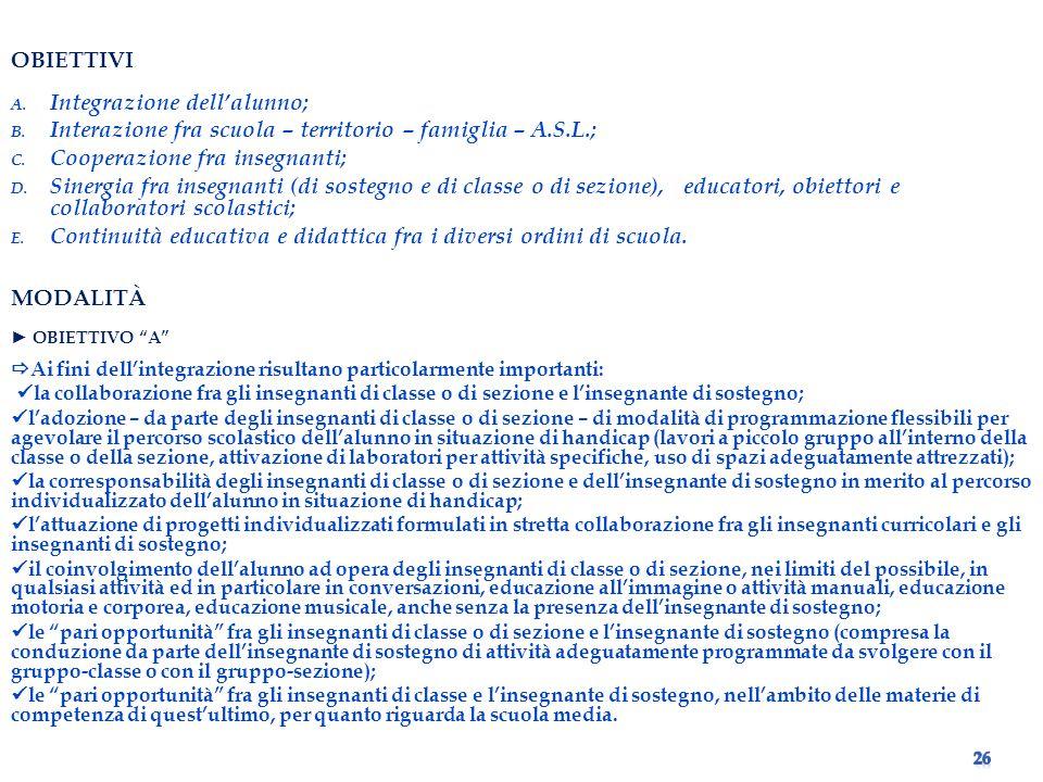 OBIETTIVI A.Integrazione dellalunno; B.