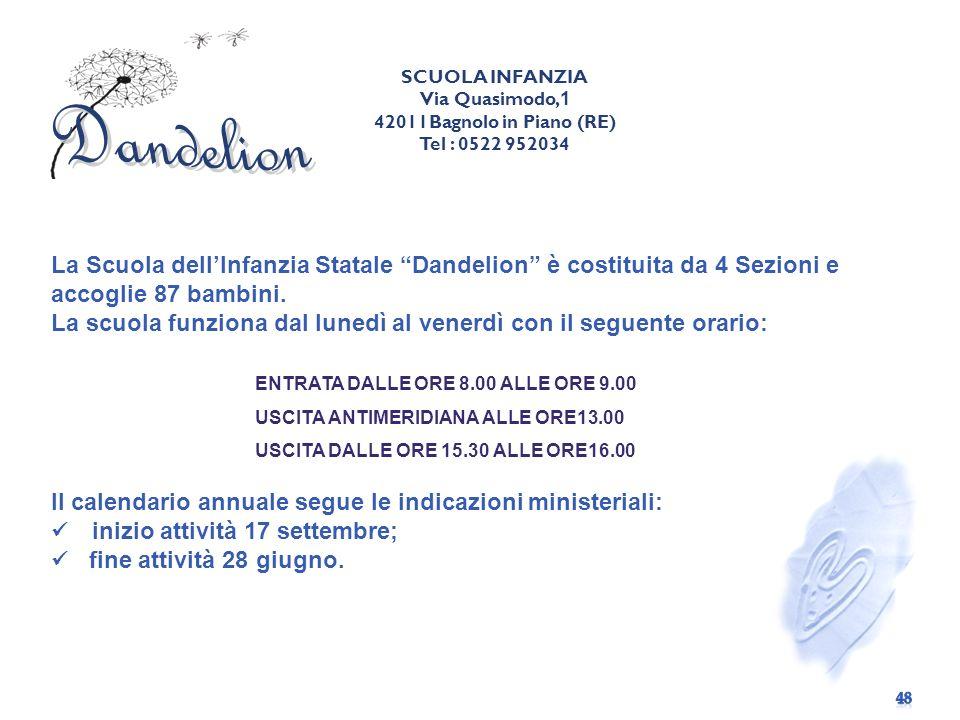La Scuola dellInfanzia Statale Dandelion è costituita da 4 Sezioni e accoglie 87 bambini.