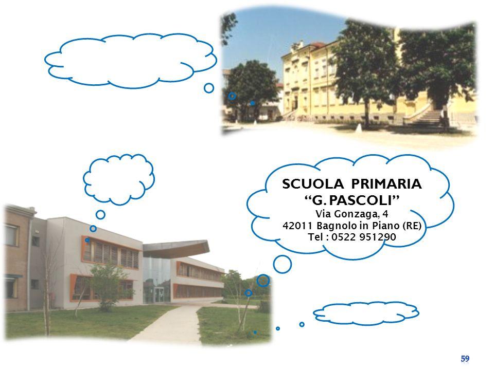 SCUOLA PRIMARIA G. PASCOLI Via Gonzaga, 4 42011 Bagnolo in Piano (RE) Tel : 0522 951290
