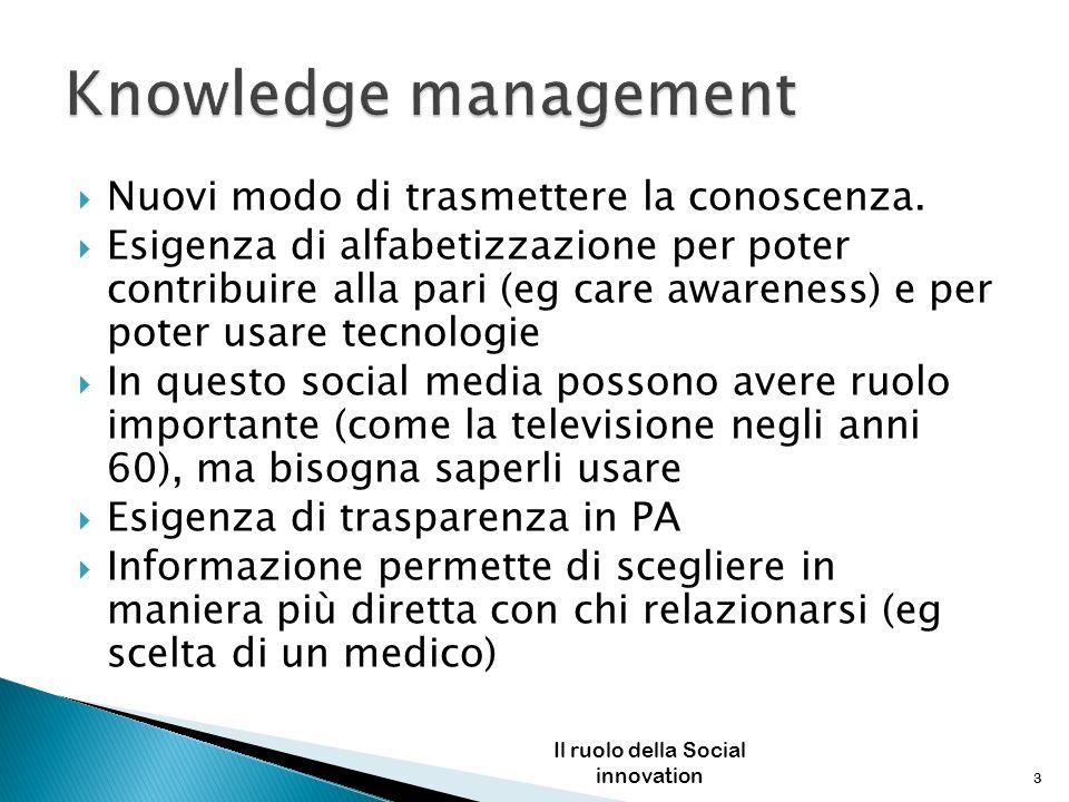 Nuovi modo di trasmettere la conoscenza. Esigenza di alfabetizzazione per poter contribuire alla pari (eg care awareness) e per poter usare tecnologie