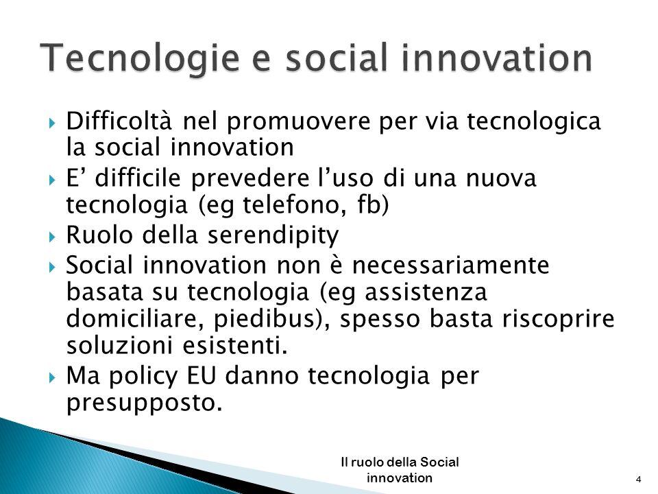 Difficoltà nel promuovere per via tecnologica la social innovation E difficile prevedere luso di una nuova tecnologia (eg telefono, fb) Ruolo della se